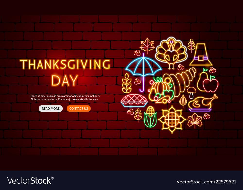 Thanksgiving day neon banner design
