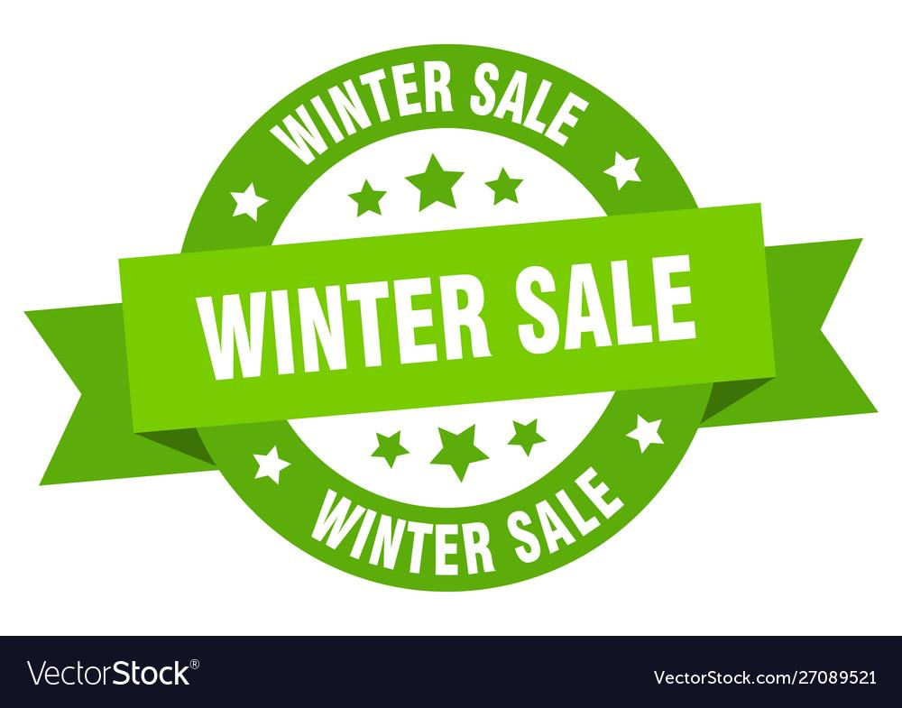 Winter sale ribbon winter sale round green sign