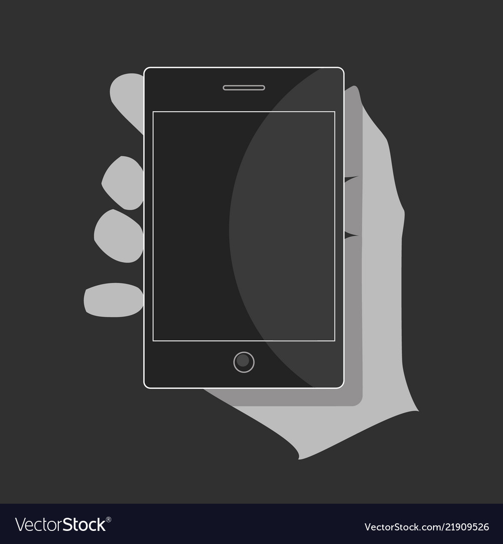 A black smartphone in the hand with a blank screen
