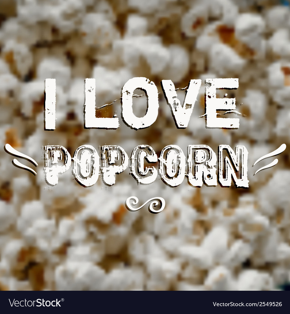 Blurred background with popcorn and label Design
