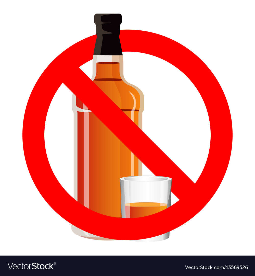 Bottle of alcohol drink and stemware in no allowed