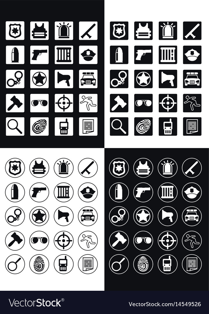Flat police and justice icons set vector image