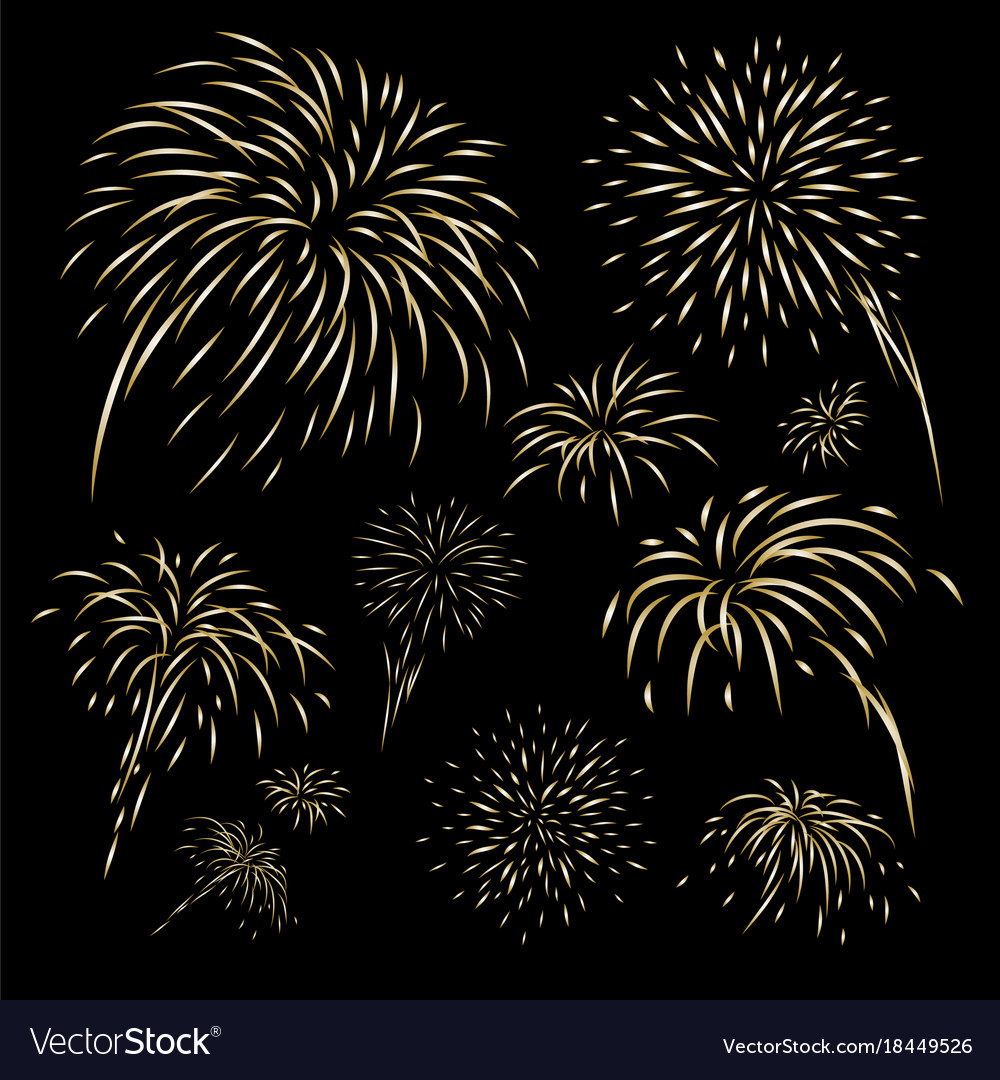 Gold fireworks design on black background