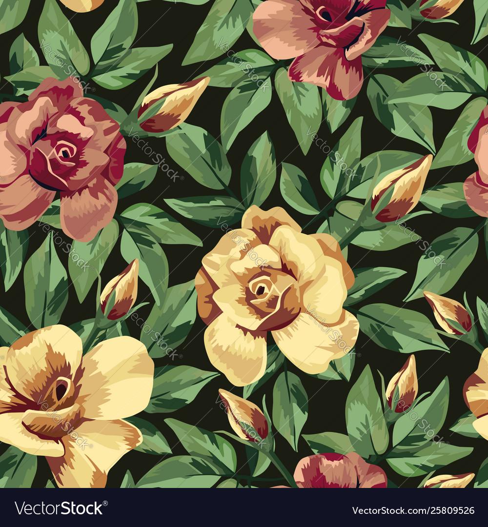 Golden burgundy rose pattern seamless black