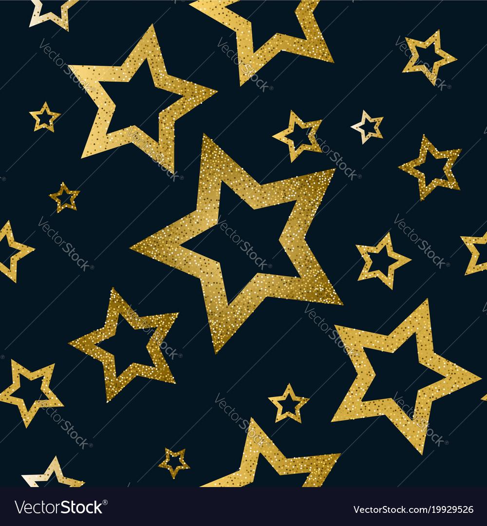 Golden stars seamless pattern
