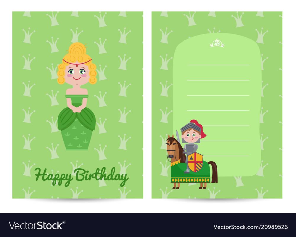 Happy birthday kids postcard with princess