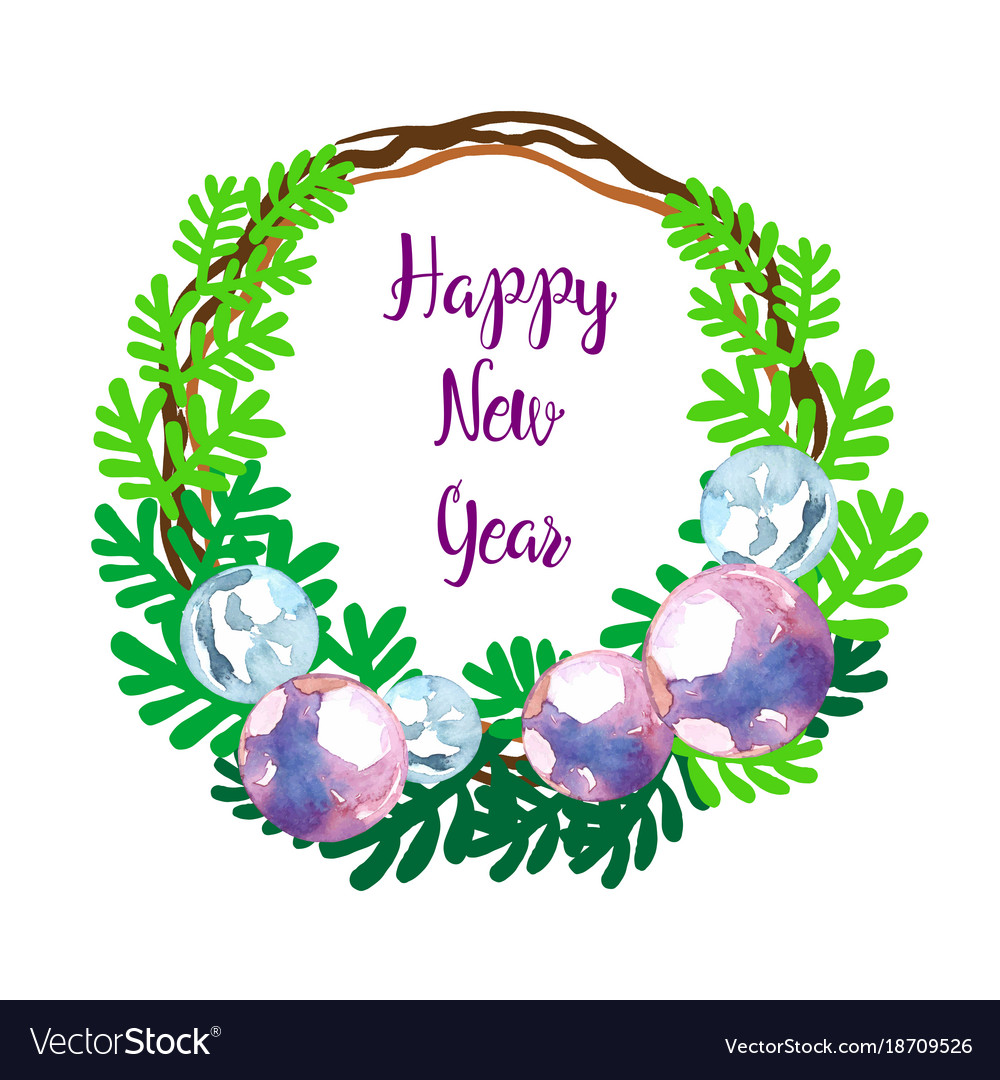 Happy new year greeting wreath Royalty Free Vector Image