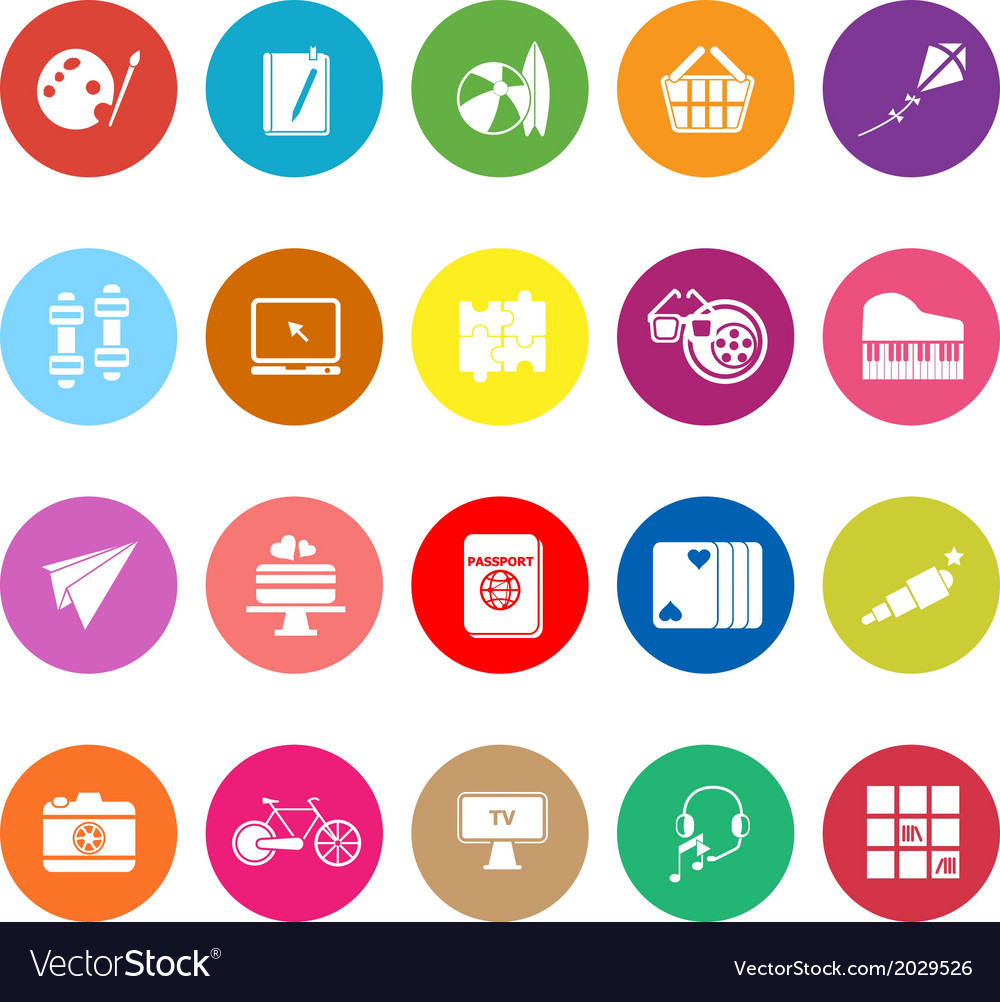 Hobby flat icons on white background