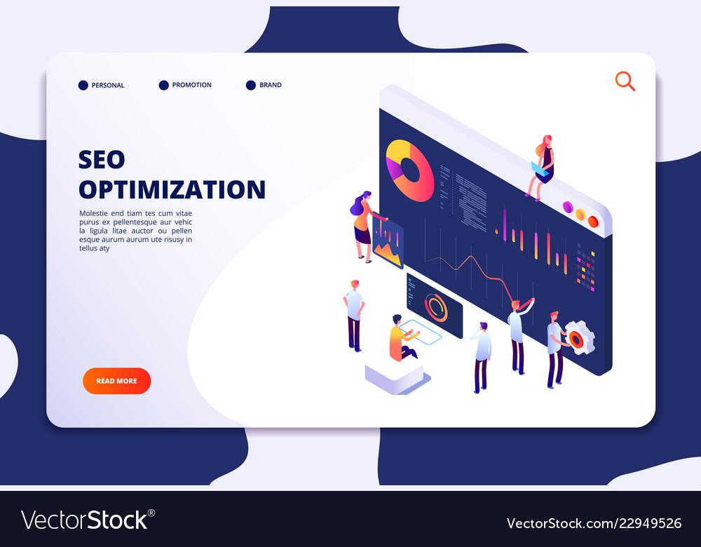 Isometric seo concept search engine optimization
