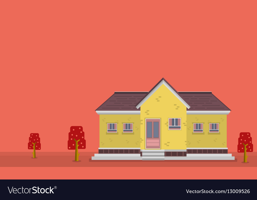 Landscape of yellow house flat vector image