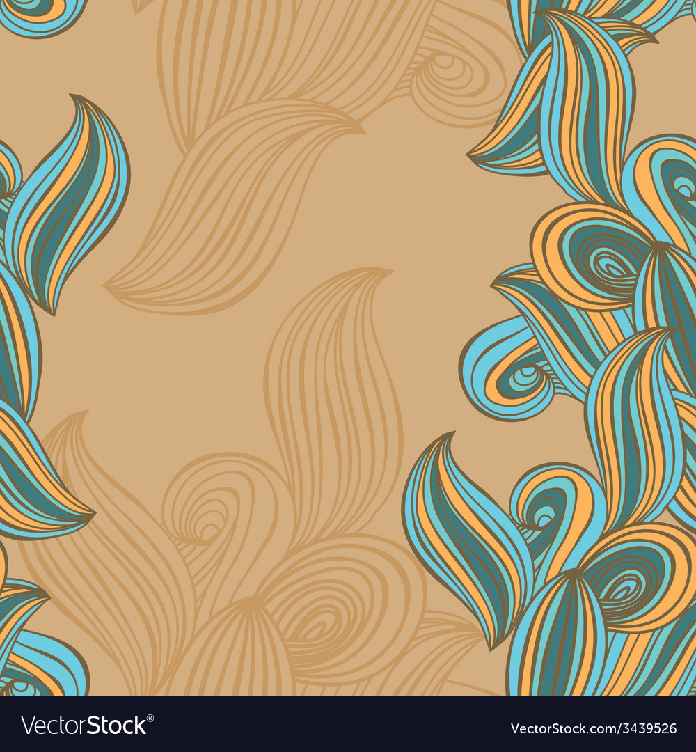 Seamless pattern wave background beige and blue