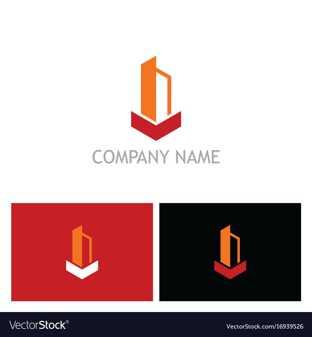 Shape building tower logo vector image