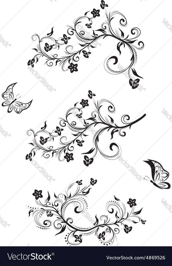 Three Floral Ornaments vector image