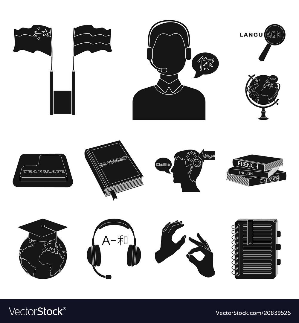 Translator and linguist black icons in set