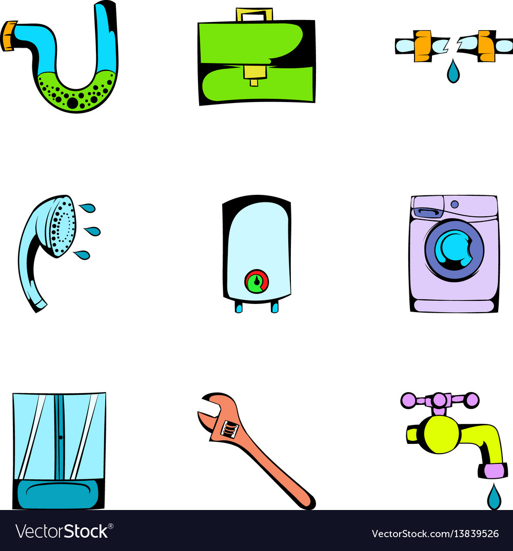 Washing icons set cartoon style