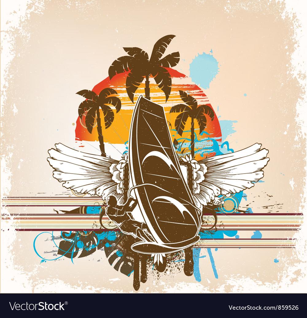 Windsurfer summer background vector image