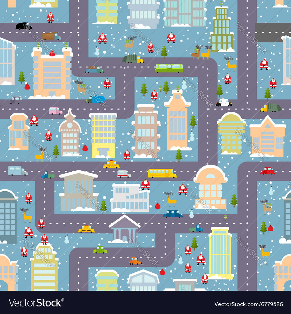 Winter city seamless pattern Christmas in city Map