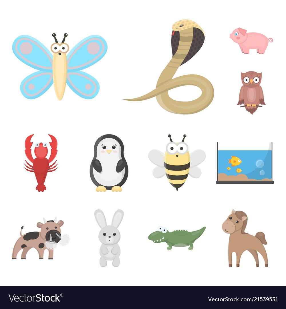 An unrealistic animal cartoon icons in set