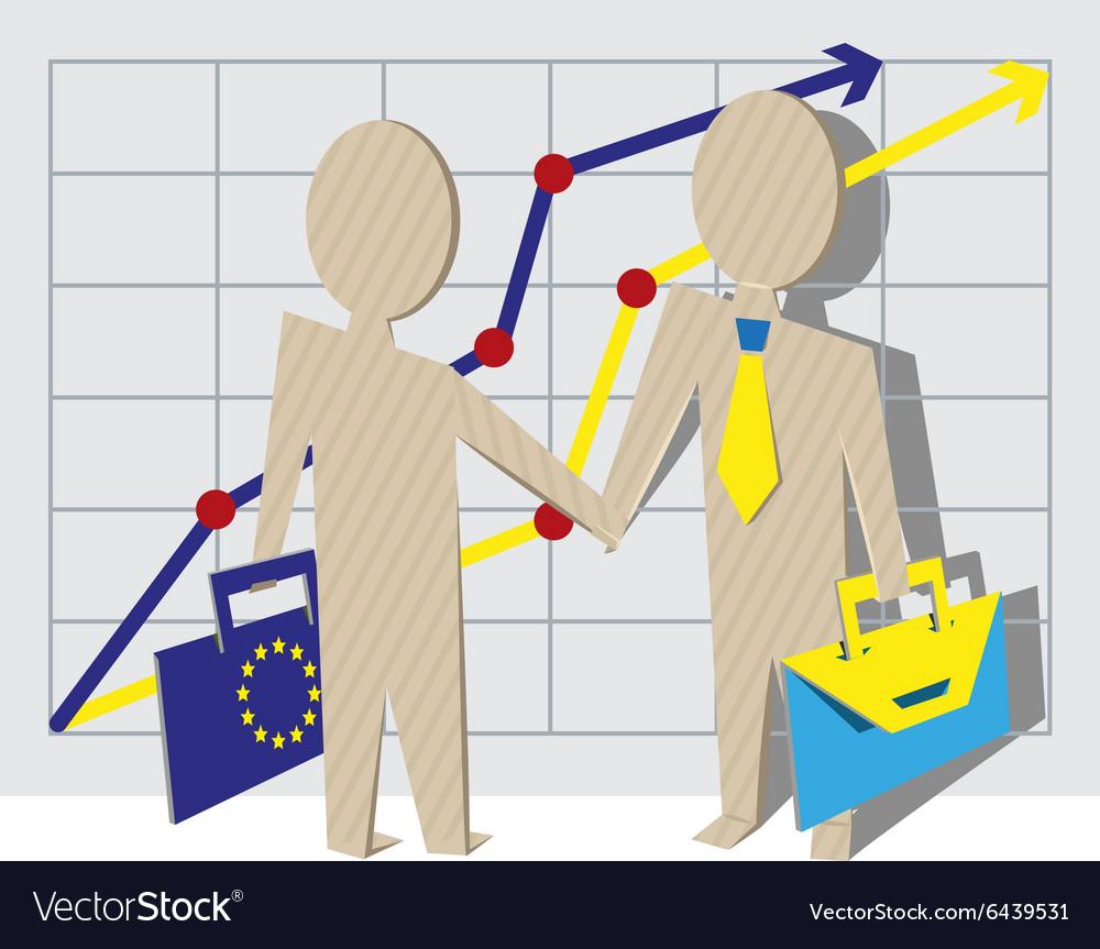 Businessmen of European Union and Ukraine shake