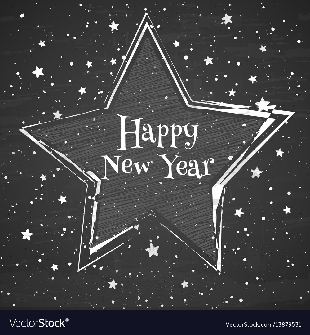Chalk star on the blackboard background greeting vector image