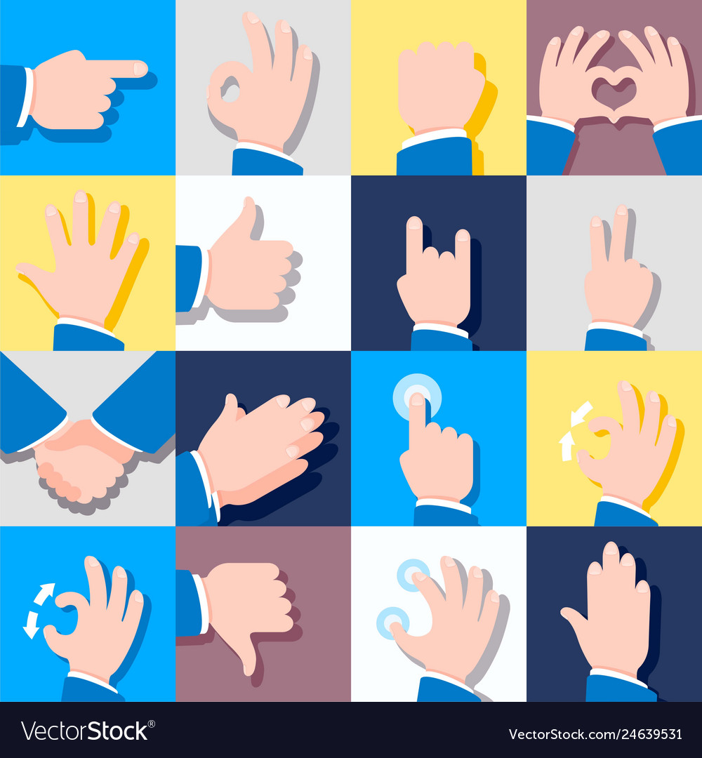 Collection of icons with hand gestures