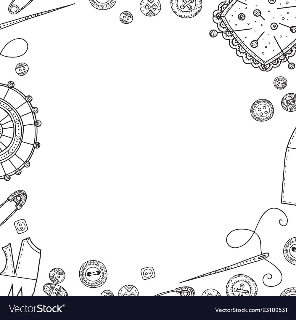 frame needlework theme border royalty free vector image