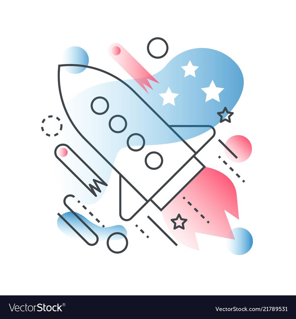 Galaxy space ship rocket concept in trendy