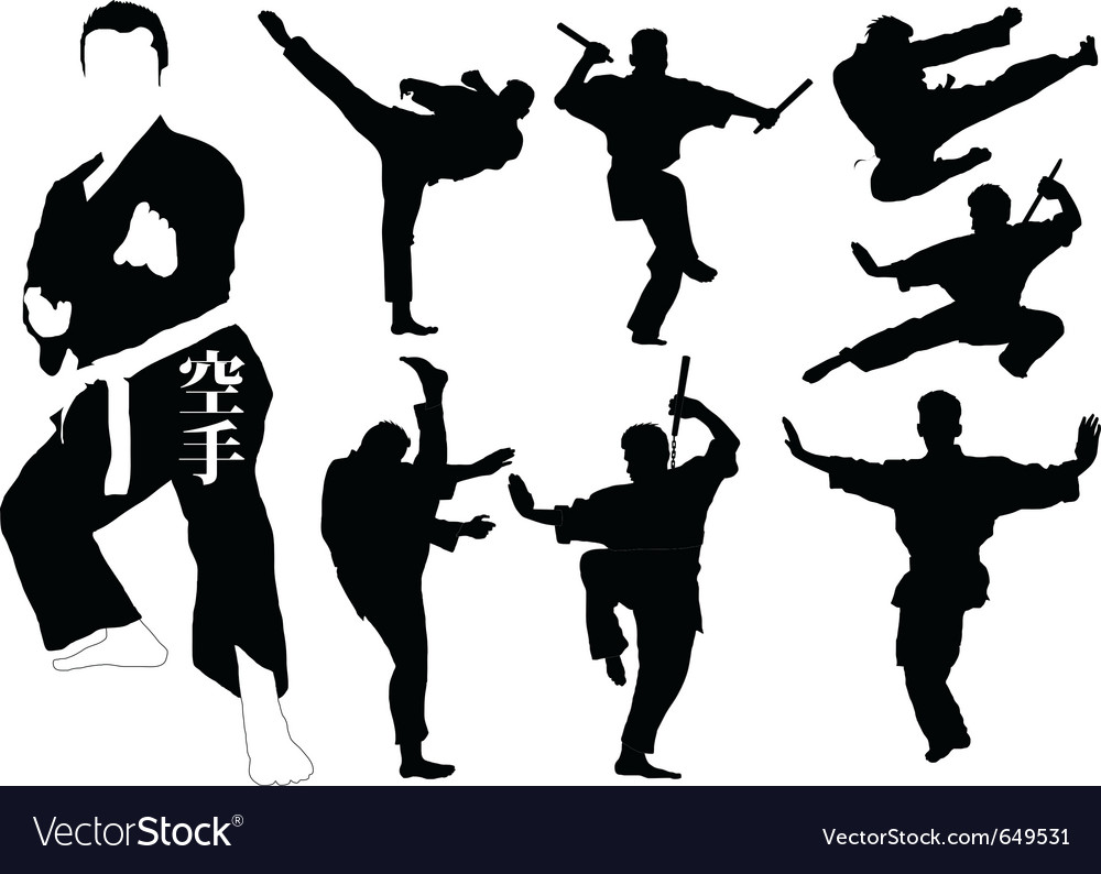 Karate silhouettes Royalty Free Vector Image - VectorStock
