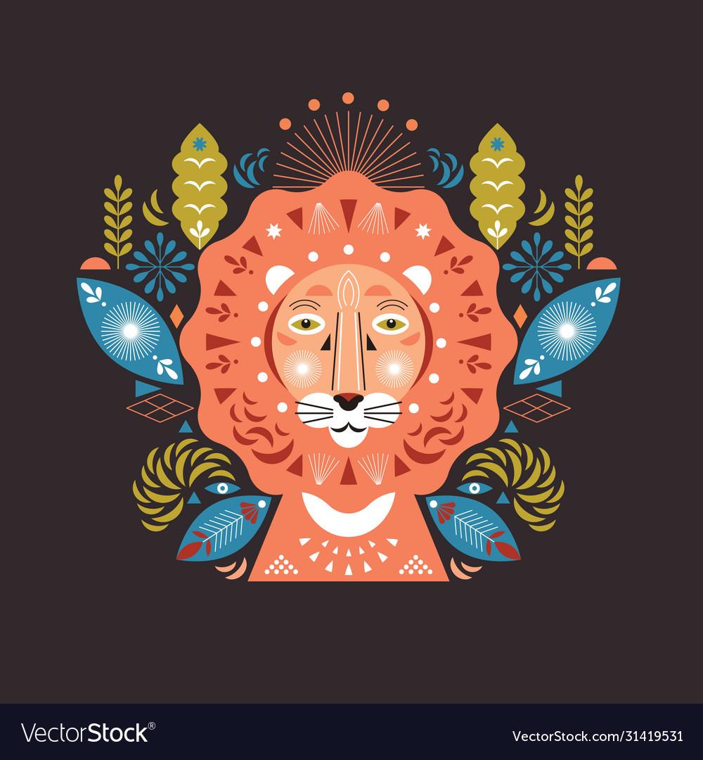 Lion head stylized