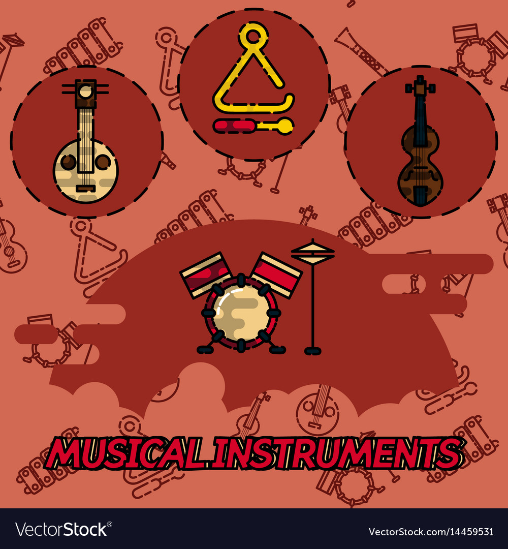 Musical instruments flat concept icons