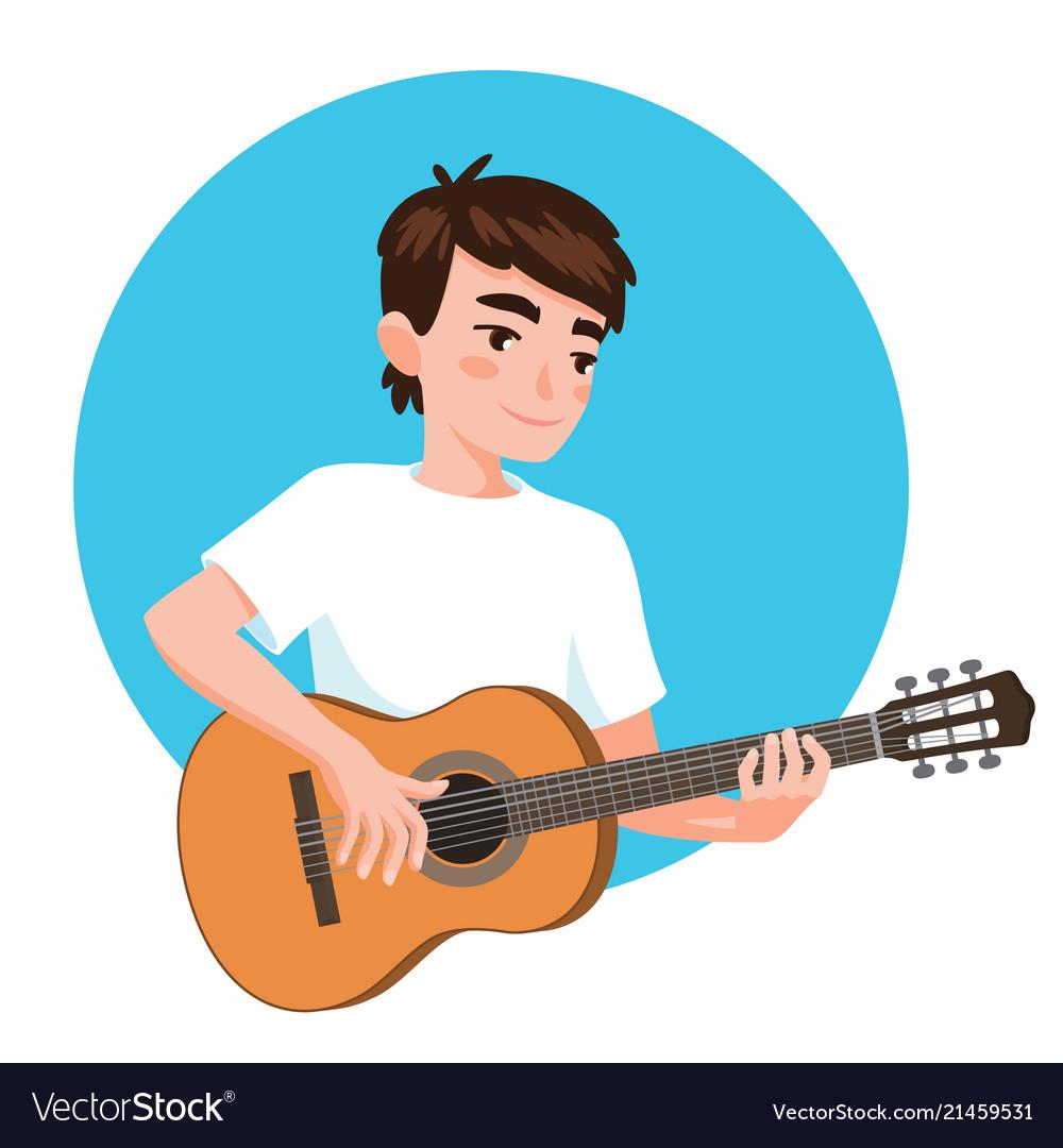 Musician playing guitar asian boy guitarist is