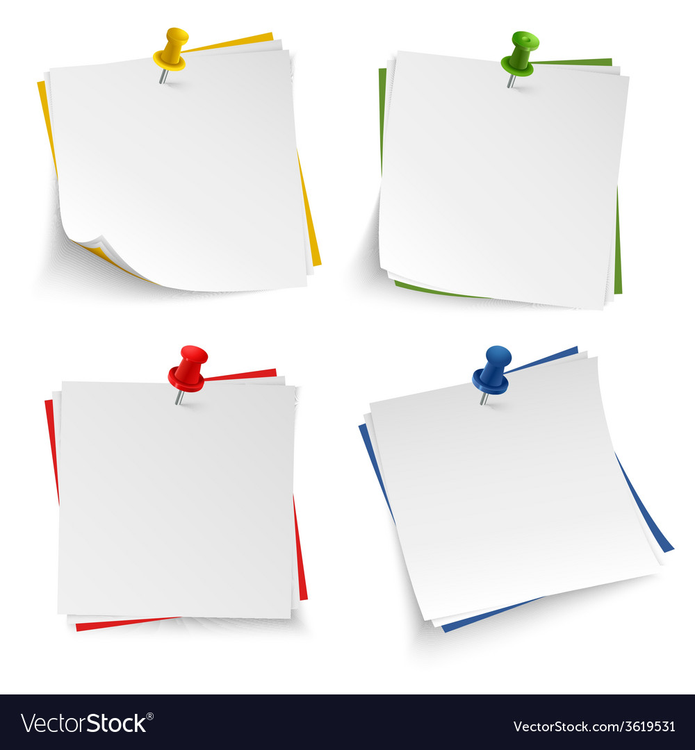 photo regarding Note Paper Template named Observe paper with drive coloured pin template