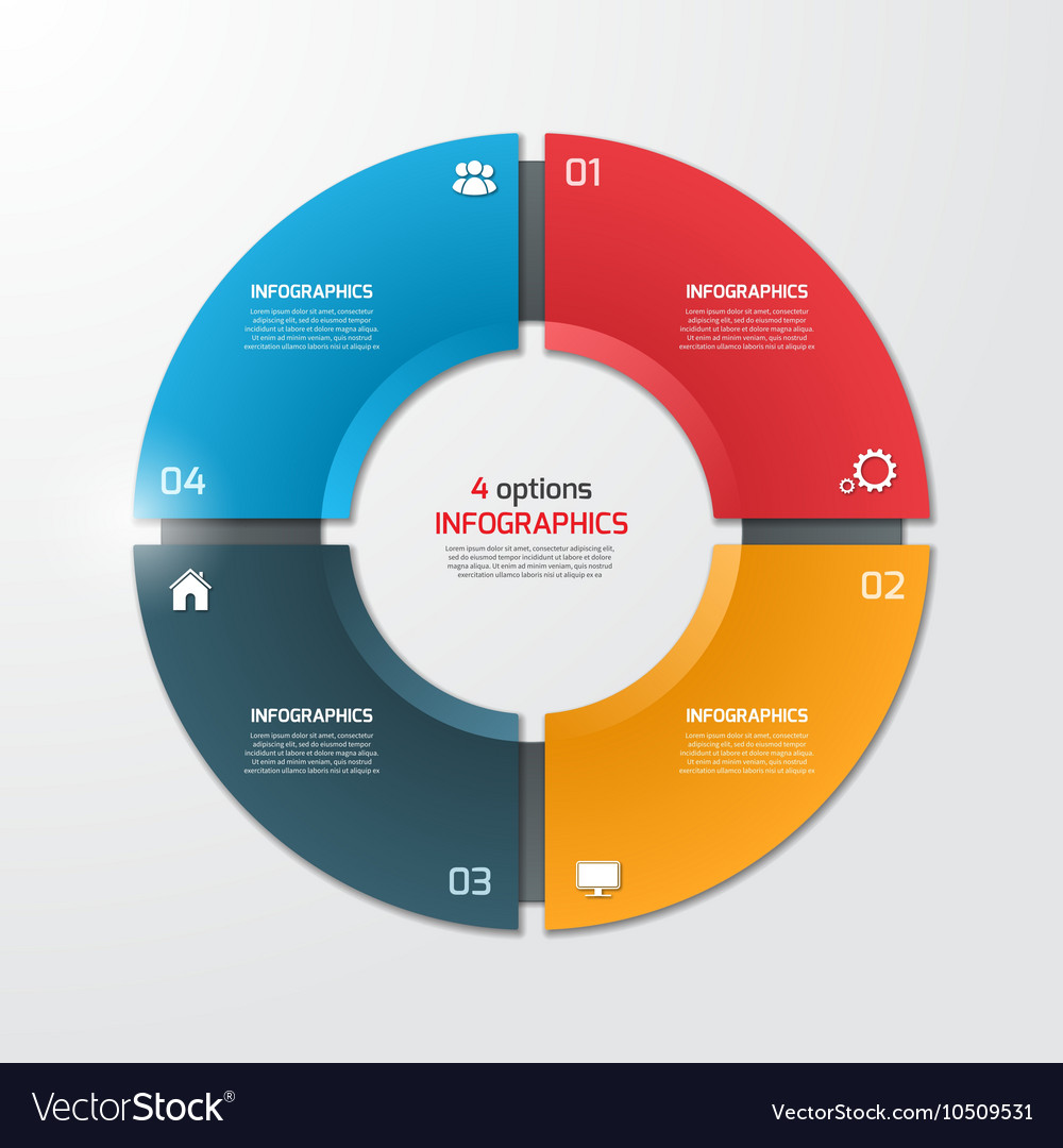 Pie chart infographic template 4 options