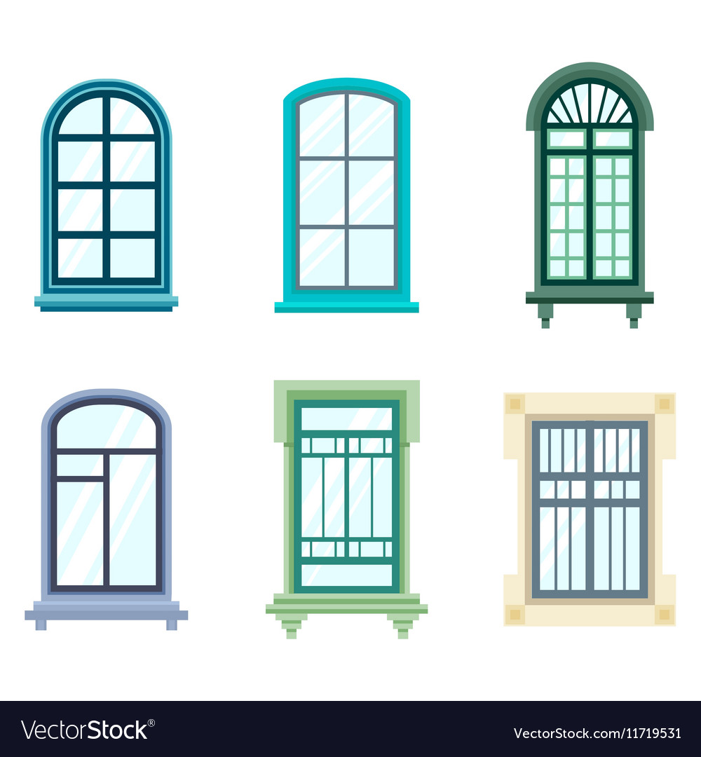 Set Of Isolated House Window Frames Royalty Free Vector