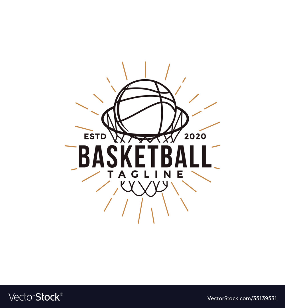 Vintage basketball sport team club league logo