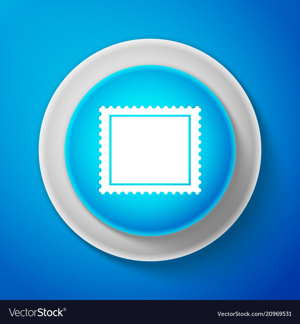 White postal stamp icon on blue background