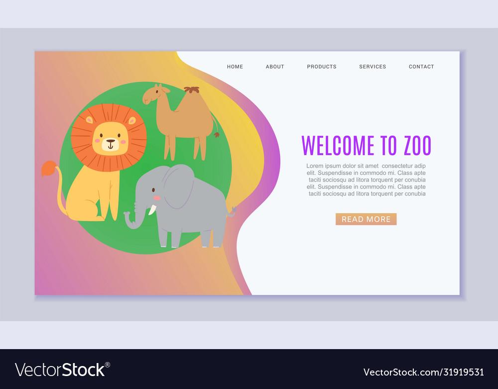Zoo cartoon animal welcome