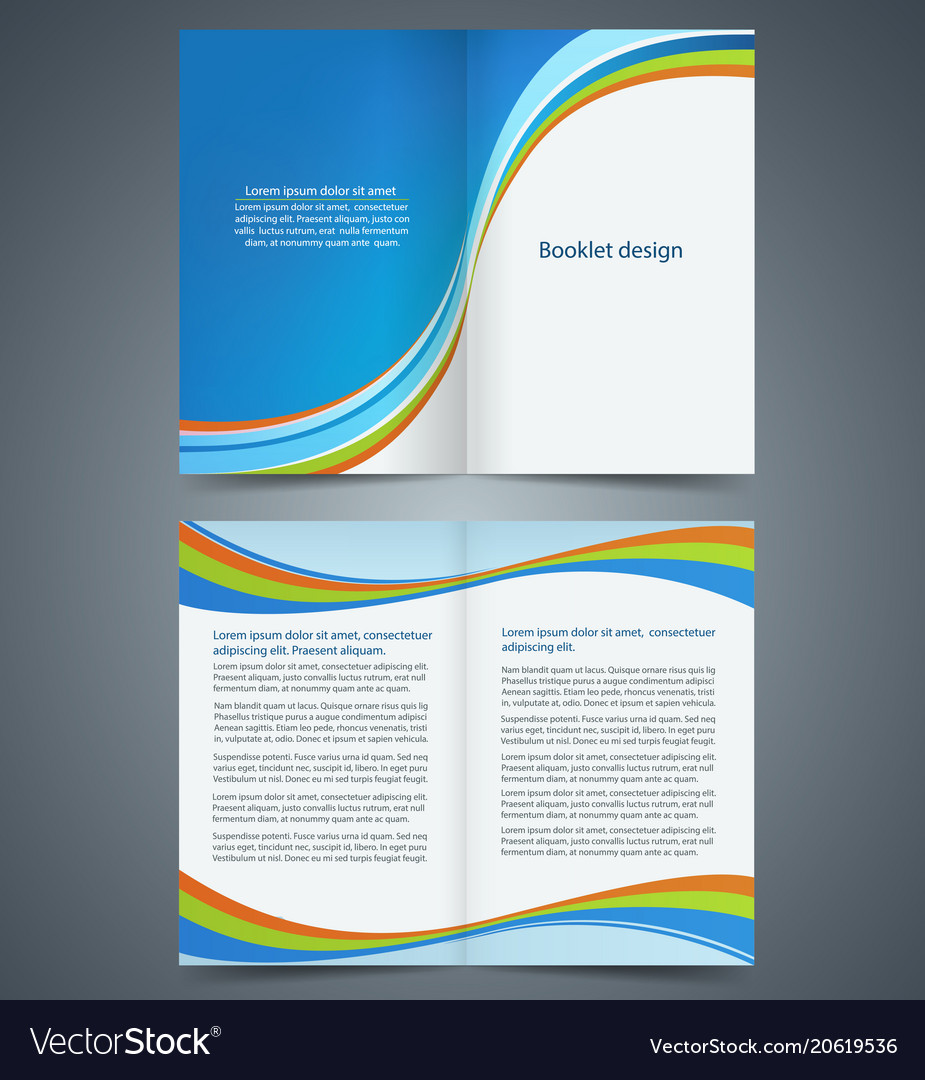 Blue Bifold Brochure Template Design Royalty Free Vector - Bifold brochure template