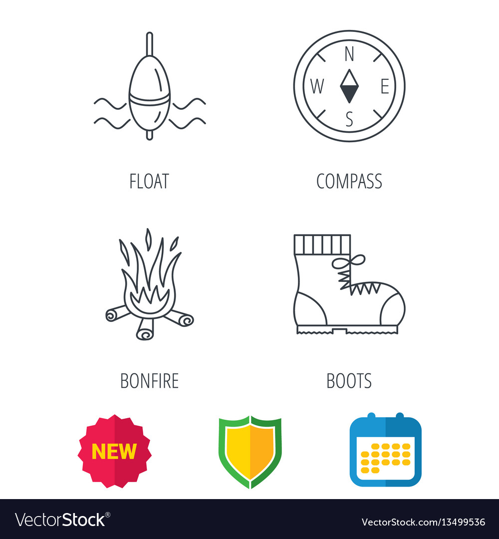 Bonfire fishing float and hiking boots icons