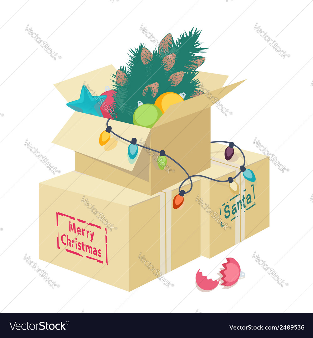 cardboard box with christmas decorations vector image - Cardboard Christmas Decorations