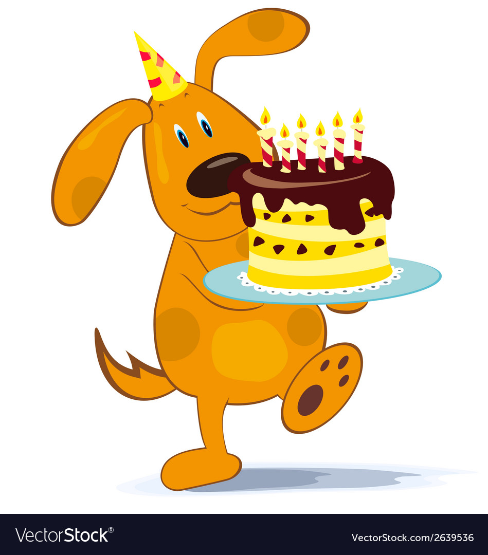 Groovy Cartoon Dog With Cake Royalty Free Vector Image Personalised Birthday Cards Paralily Jamesorg