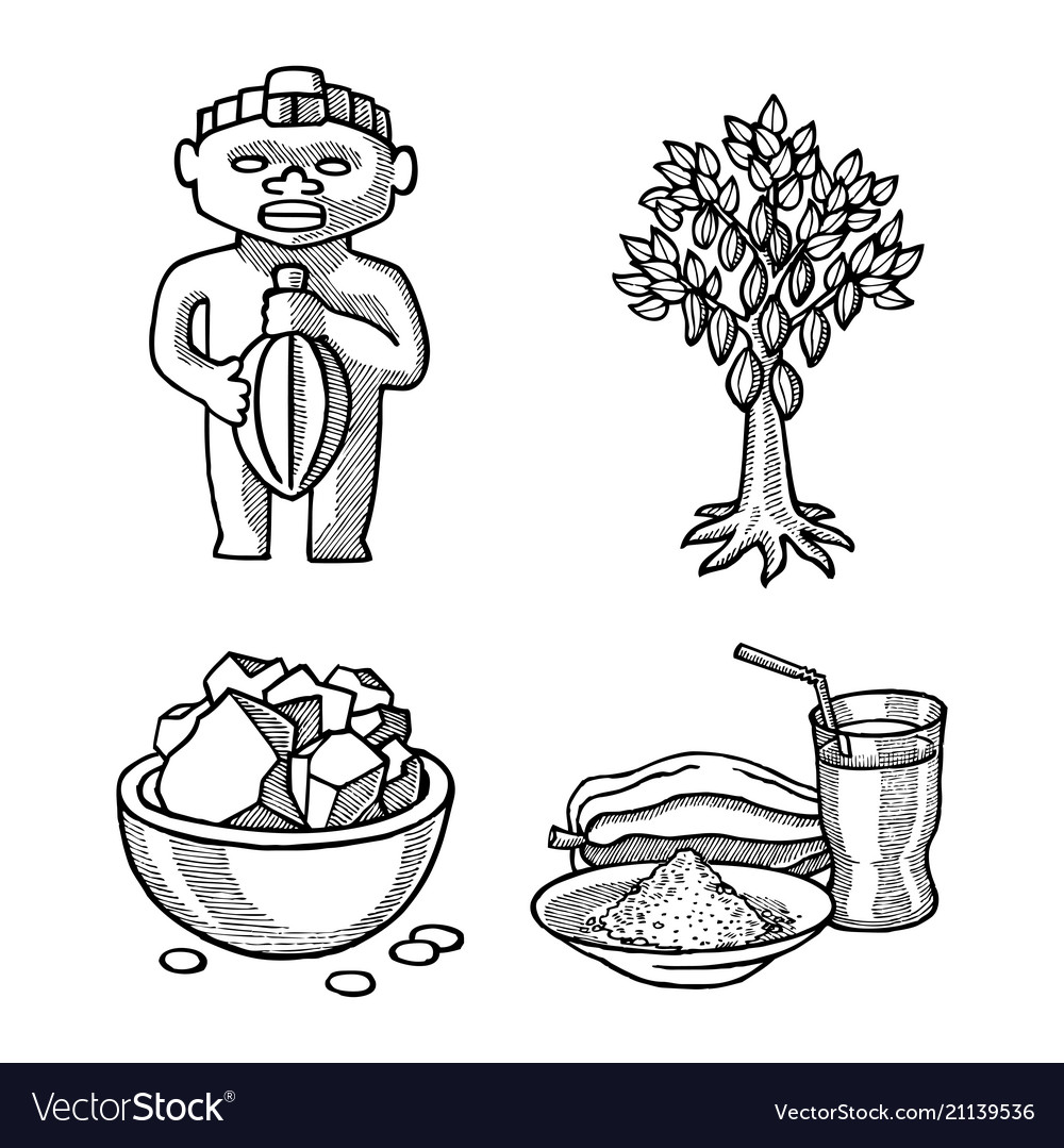 Cocoa products hand drawn sketch doodle vector