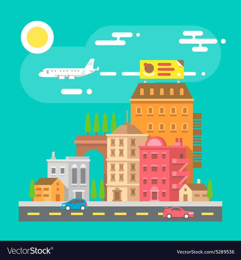 Colorful cityscape scene in flat design