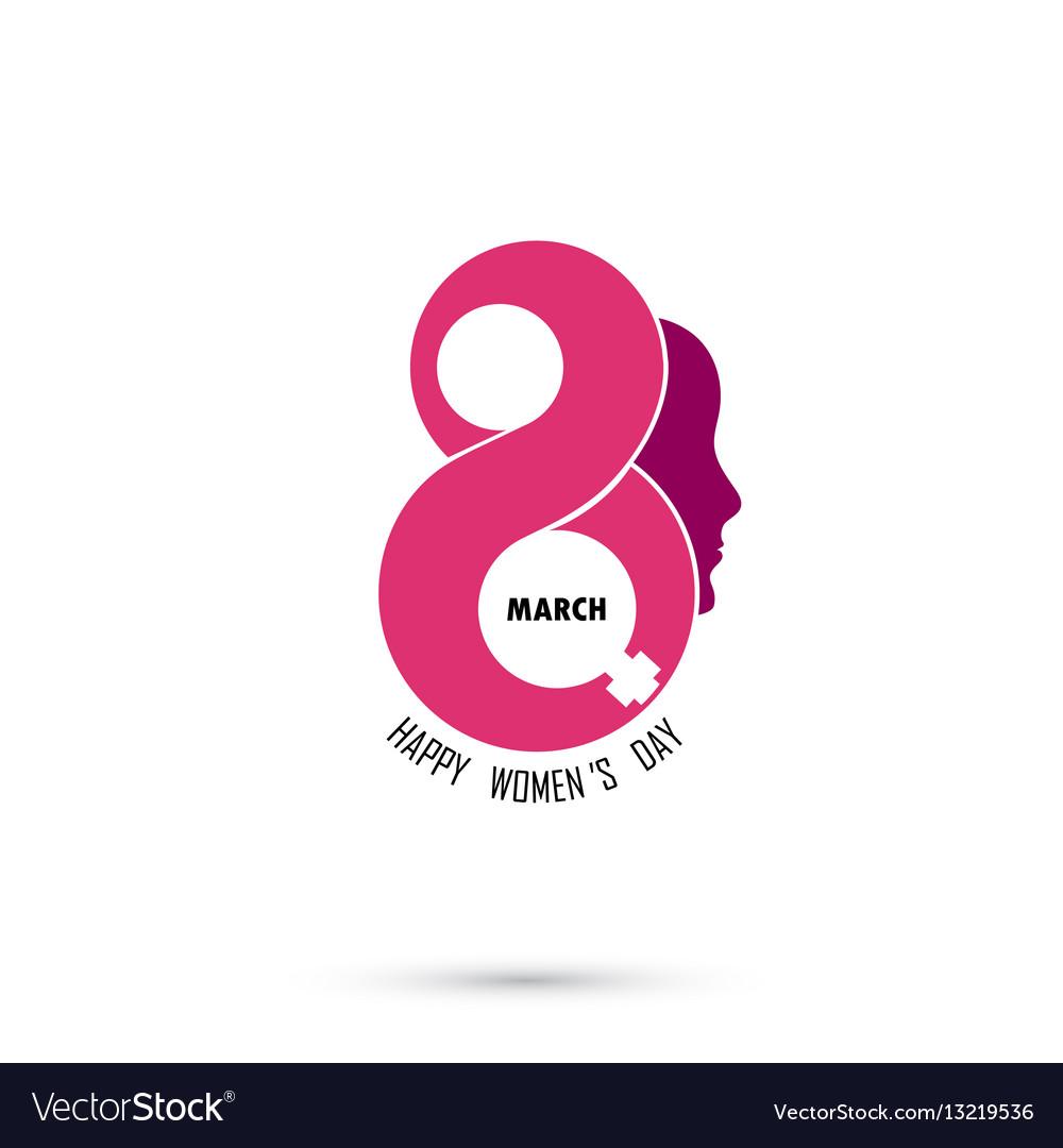 Creative 8 march logo design with international