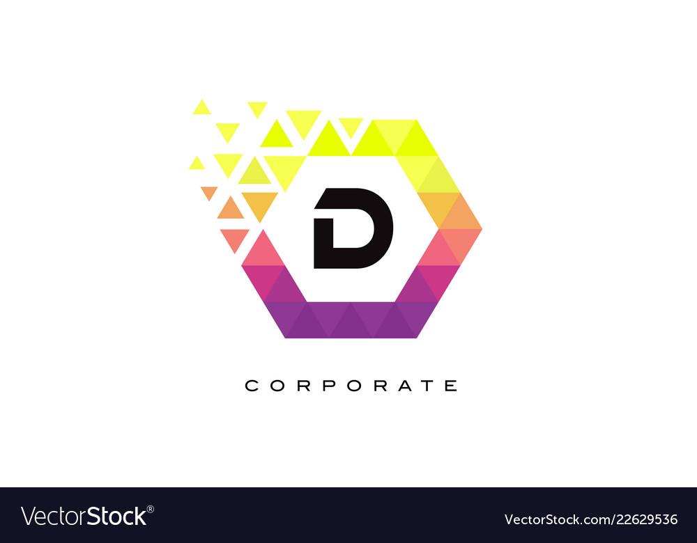 D colorful hexagon shaped letter logo design