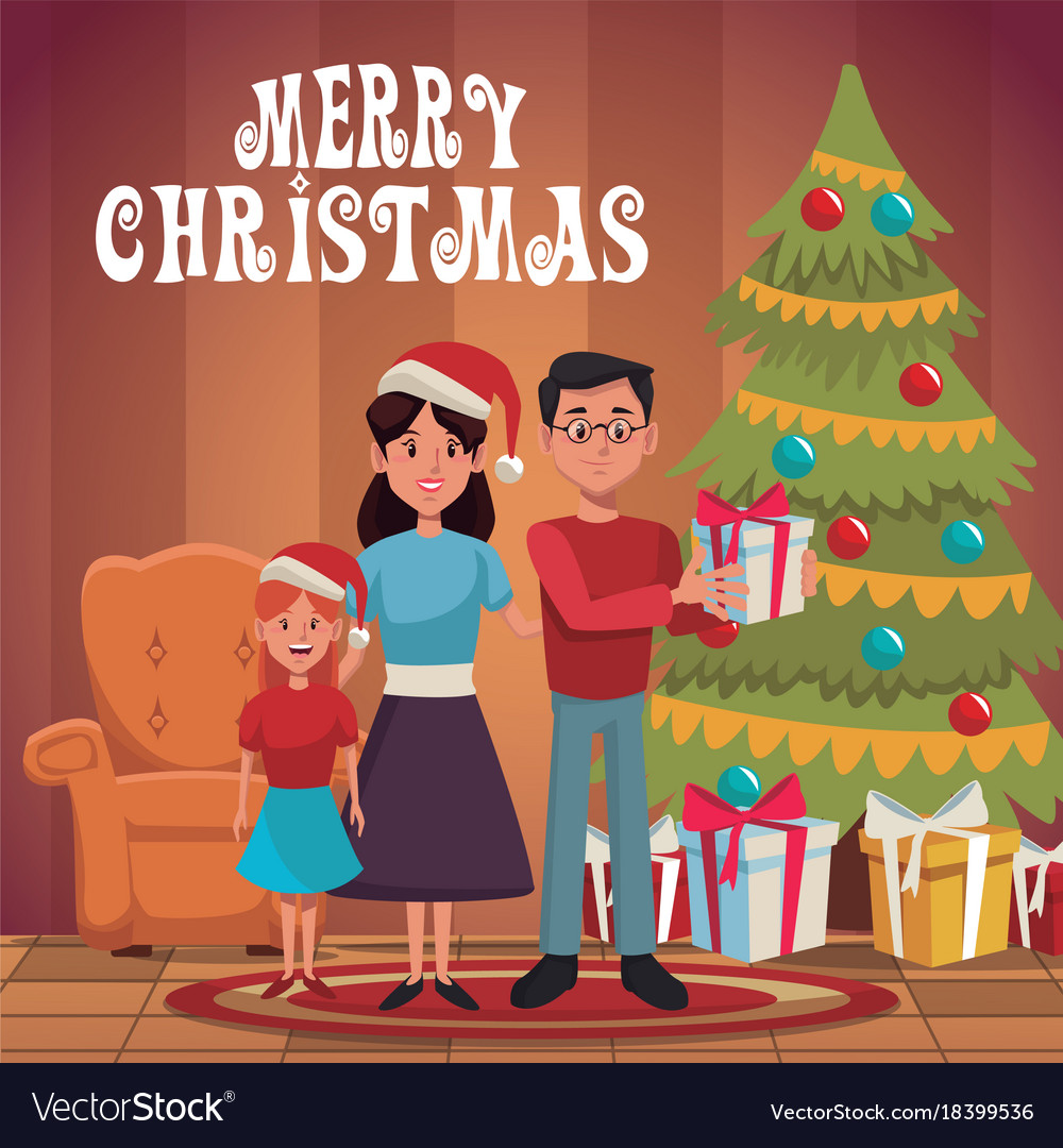 family christmas cartoon royalty free vector image vectorstock