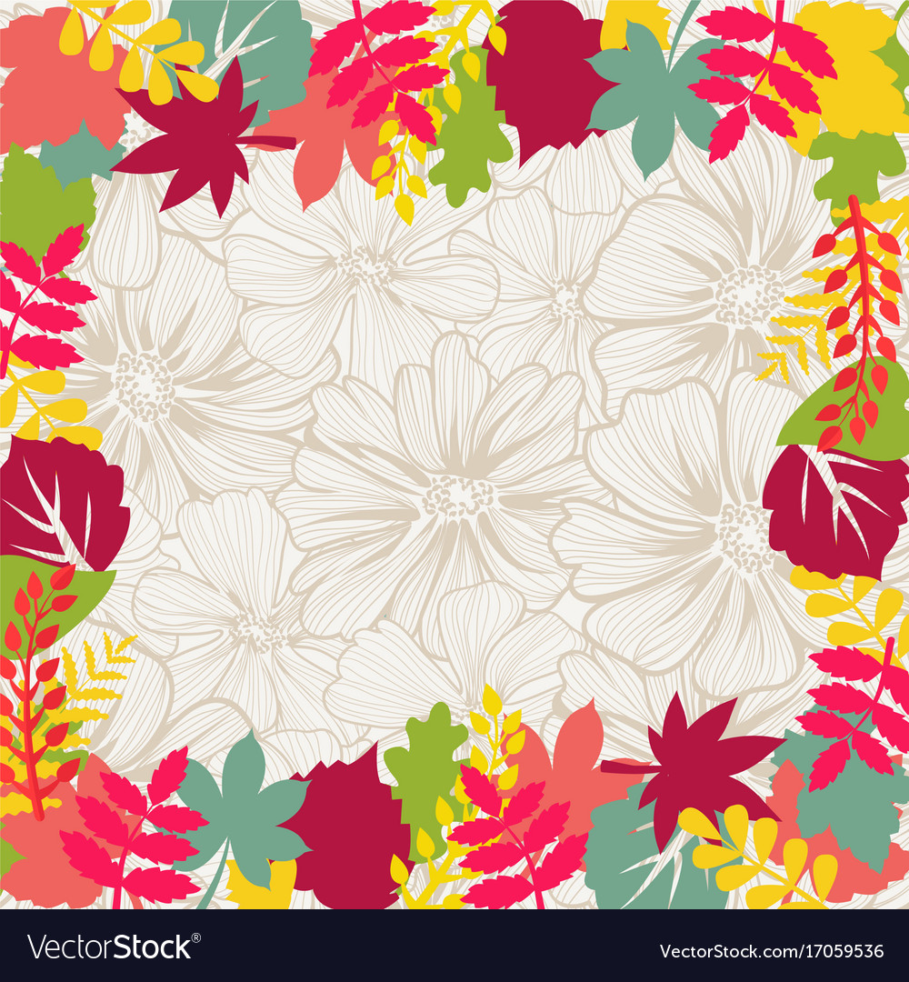 Leaf decorative frame with maple and difirent vector image