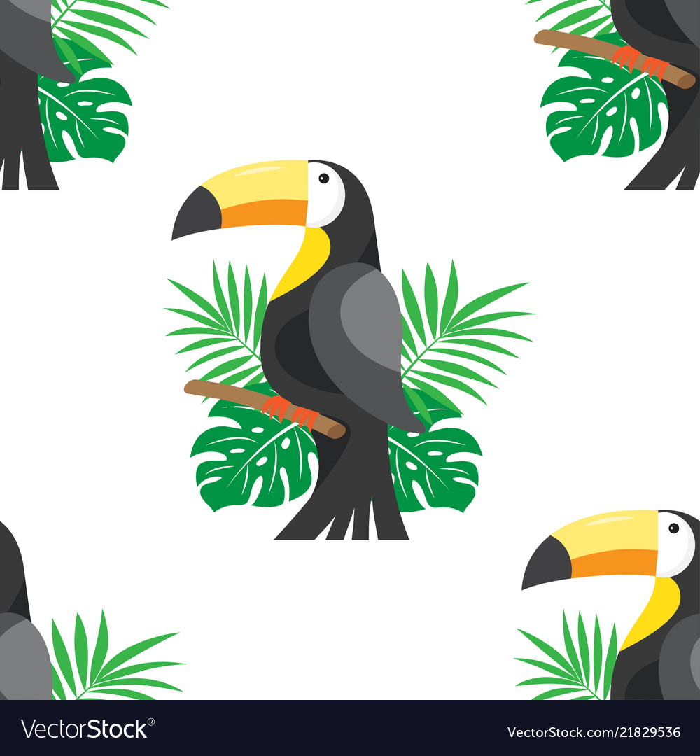 Seamless pattern with leafs and toucan