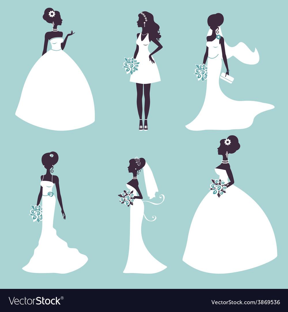 Set of elegant brides in silhouette