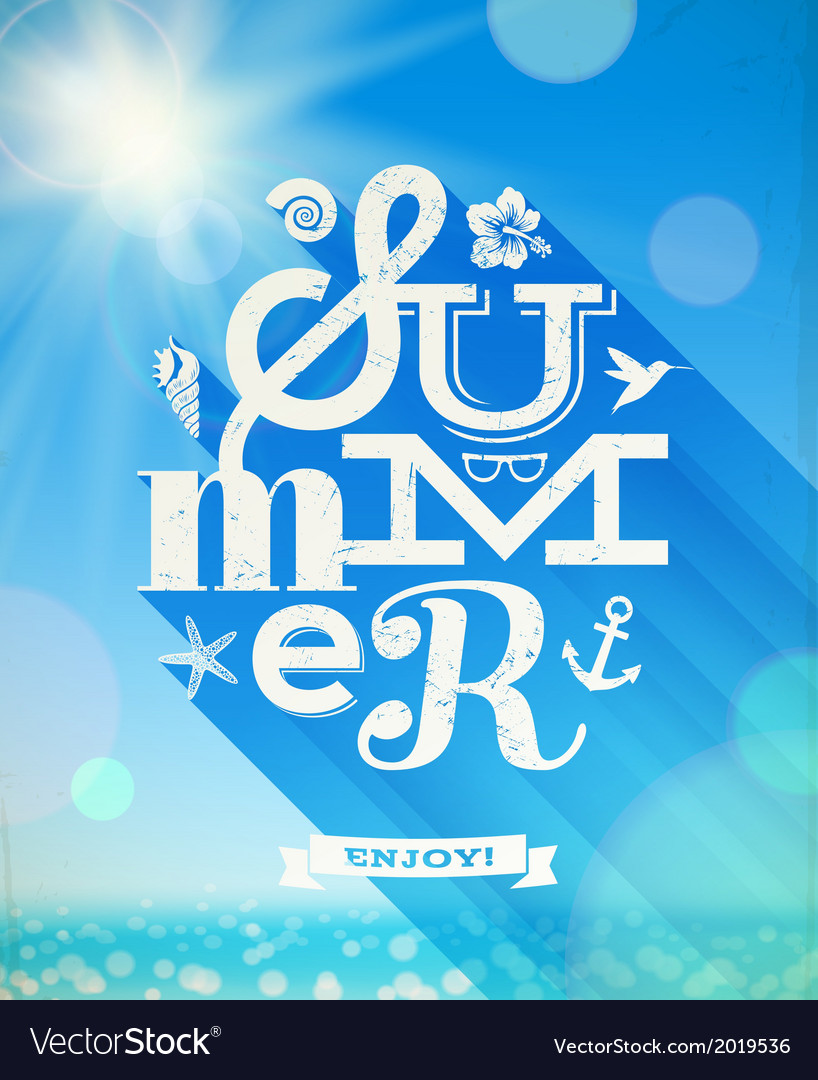 Summer type greeting with summer things vector image